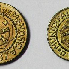 Monedas República: GUERRA CIVIL ESPAÑOLA 1937. CONSEJOS MUNICIPALES DE MENORCA (BALEARES). LOTE 3825. Lote 265142094