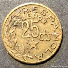 Moedas República: CONSEJO MUNICIPAL MENORCA 1937. 25 CÉNTIMOS.. Lote 266236878