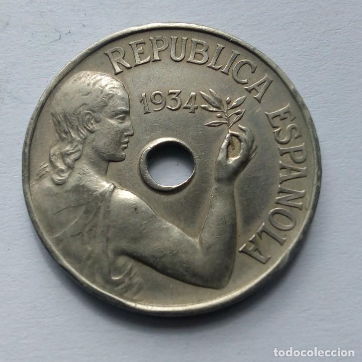 ESPAÑA II REPÚBLICA GOBIERNO DE ESPAÑA 25 CÉNTIMOS 1934 (Numismática - España Modernas y Contemporáneas - República)