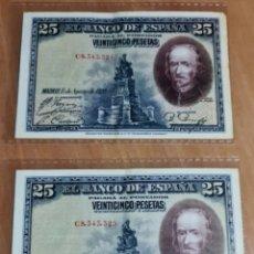 Monedas República: PAREJA CORRELATIVA DE BILLETES DE 25 PESETAS DE 1928 SERIE C. Lote 268578934