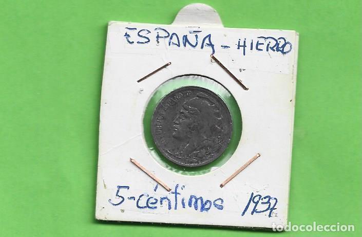 ESPAÑA. 5 CÉNTIMOS 1937. II REPÚBLICA. MONEDA DE HIERRO (Numismática - España Modernas y Contemporáneas - República)