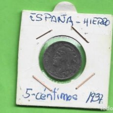 Monedas República: ESPAÑA. 5 CÉNTIMOS 1937. II REPÚBLICA. MONEDA DE HIERRO. Lote 268899699