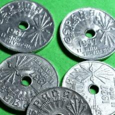 Monedas República: LOTE DE 25 CENTIMOS DE 1937. AÑO TRIUNFAL.. IMPECABLES.. Lote 269015584