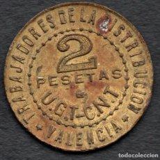 Monedas República: 2 PESETAS - EPOCA GUERRA CIVIL - TRABAJADORES DE LA DISTRIBUCION - UGT-CNT - VALENCIA 1937. Lote 269047748