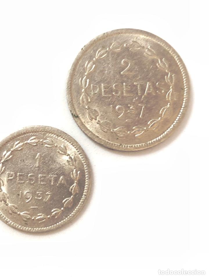 Monedas República: 1937 Guerra Civil. Euzkadi. 1 y 2 pesetas,serie completa.MBC/MBC +. - Foto 2 - 269704893