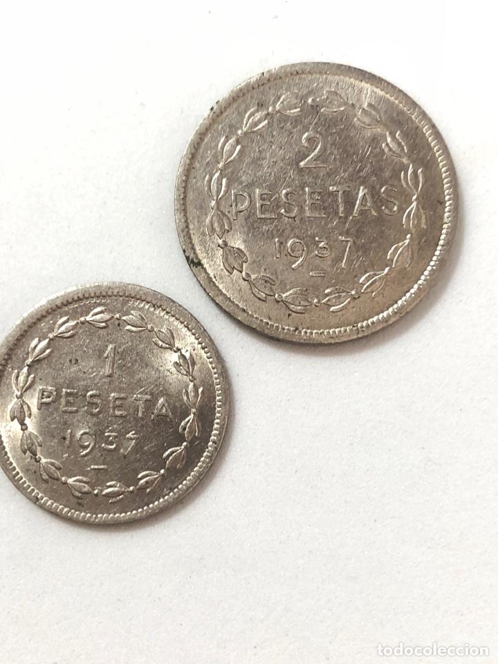 Monedas República: 1937 Guerra Civil. Euzkadi. 1 y 2 pesetas,serie completa.MBC/MBC +. - Foto 4 - 269704893