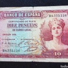 Monedas República: BILLETE ESPAÑA 10 PESETAS 1935 II REPÚBLICA BC. Lote 269841678