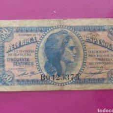 Monedas República: BILLETE DE 50 CÉNTIMOS DE 1937. Lote 269944723
