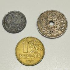 Monedas República: 3 MONEDAS II REPÚBLICA 5, 25 CÉNTIMOS Y 1 PESETA 1934 1937. Lote 269971313