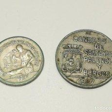 Monedas República: 2 MONEDAS 1937 CONSEJO SANTANDER, PALENCIA Y BURGOS. Lote 269978868