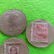 Monedas República: LOTE 3 CARTONES MONEDA DE 10 /15 Y 25 CENTIMOS DE LA REPUBLICA ESPAÑOLA. Lote 274613083