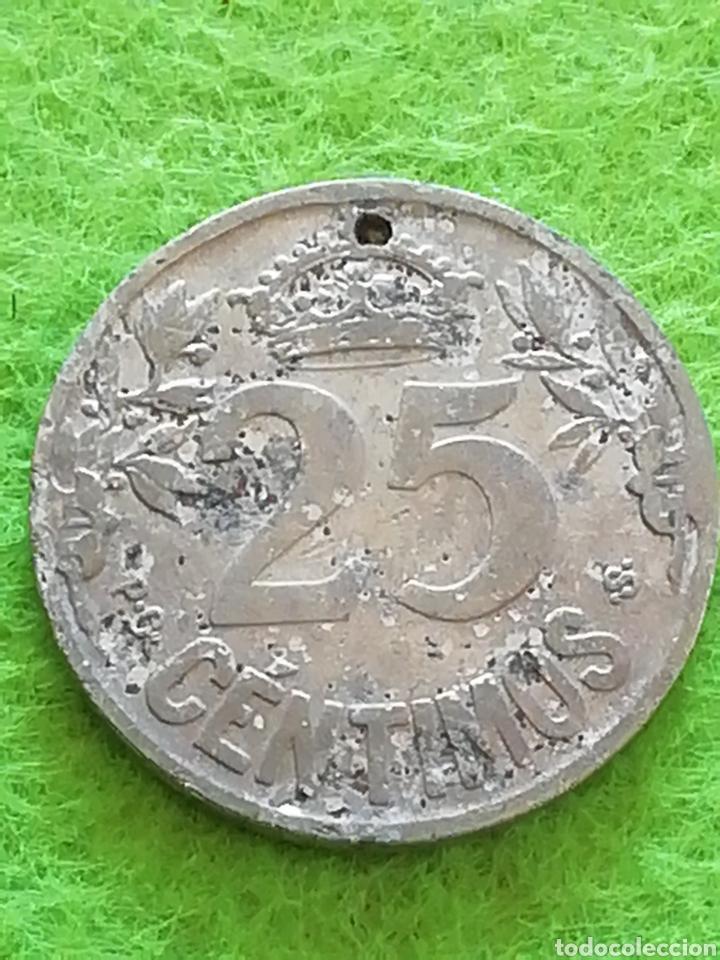 Monedas República: Antigua moneda de 25 céntimos de 1925. Con falta de material. República española - Foto 2 - 277565838