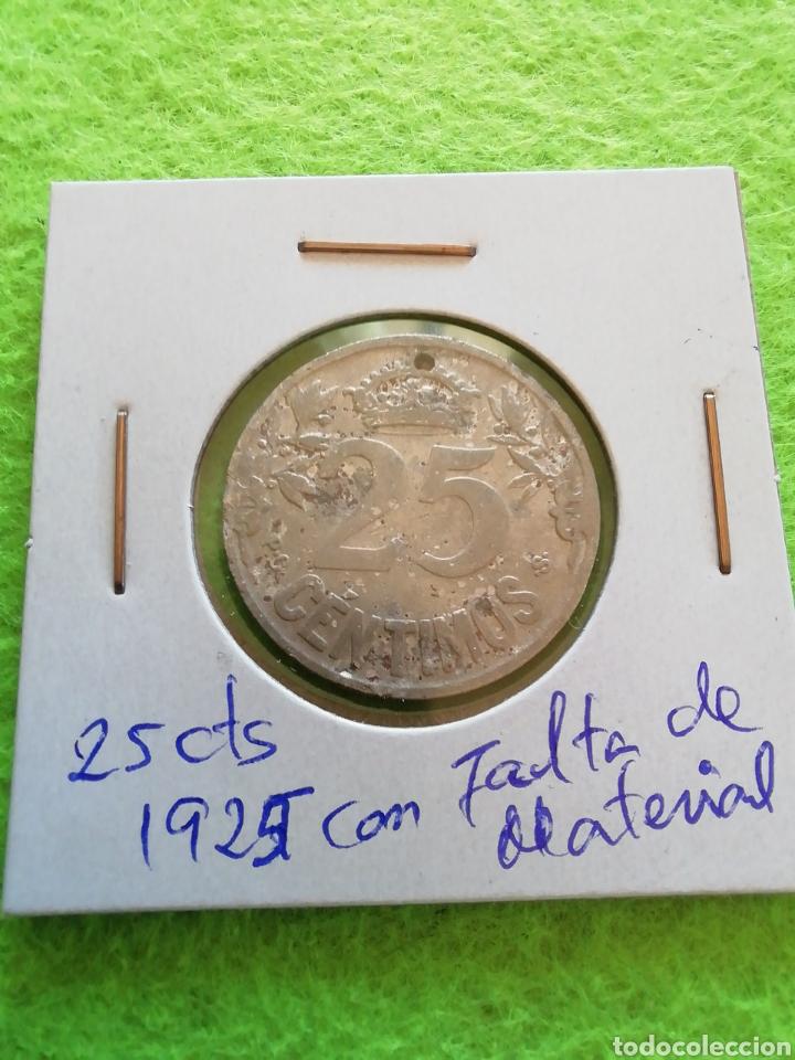 Monedas República: Antigua moneda de 25 céntimos de 1925. Con falta de material. República española - Foto 4 - 277565838