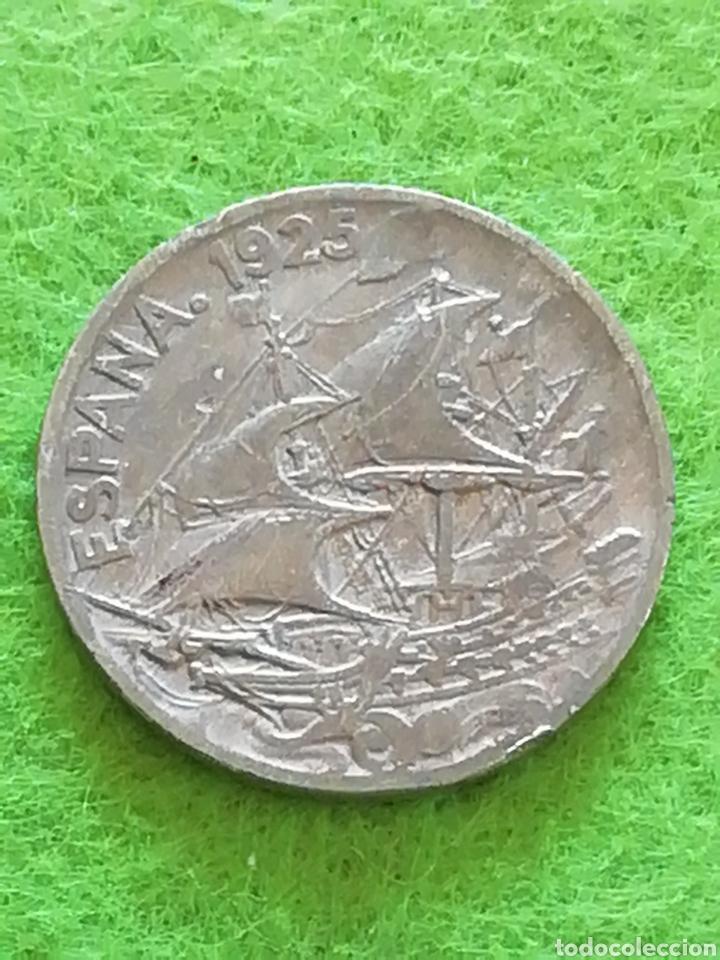 ANTIGUA MONEDA DE 25 CÉNTIMOS DE 1925. CON FALTA DE MATERIAL. REPÚBLICA ESPAÑOLA (Numismática - España Modernas y Contemporáneas - República)