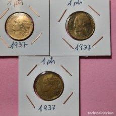 Monedas República: 1 PESETAS 1937 II REPUBLICA ( LOTE 3 MONEDAS ). Lote 277643043