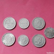 Monedas República: REPUBLICA ESPAÑOLA. 1 Y 2 PESETAS EUZKADI. 1937 (7 MONEDAS).. Lote 278964223