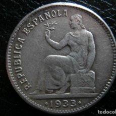 Monedas República: 1 PESETA DE PLATA 1933 REPUBLICA ESPAÑOLA REVERSO GIRADO ( ¿FALSA DE EPOCA? ).. Lote 284602128