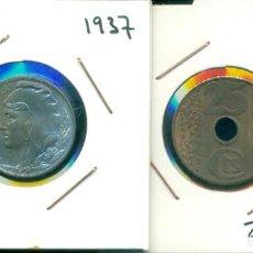 Monedas República: REPUBLICA ESPAÑOLA - LOTE 5 CENTIMOS AÑO 1937 SIN CIRCULAR + 25 CENTIMOS AÑO 1938 SIN CIRCULAR. Lote 286333983
