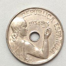 Monedas República: 25 CÉNTIMOS DE 1934 . EBC +. II REPUBLICA ESPAÑOLA.. Lote 289197478