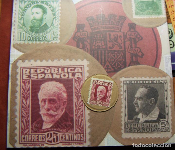 Monedas República: Cartón Moneda Sello de Republica Española de 25 Céntimos + catalogo El sello Moneda de la Republica - Foto 2 - 289736228