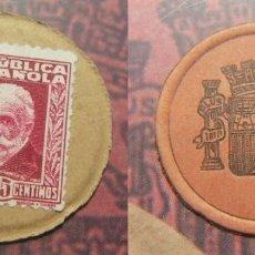 Monedas República: CARTÓN MONEDA SELLO DE REPUBLICA ESPAÑOLA DE 25 CÉNTIMOS + CATALOGO EL SELLO MONEDA DE LA REPUBLICA. Lote 289736228