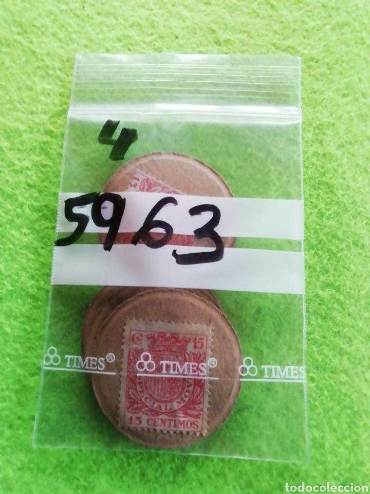 Monedas República: Lote 4 monedas cartón de 15 céntimos. De la República española. - Foto 3 - 290085963
