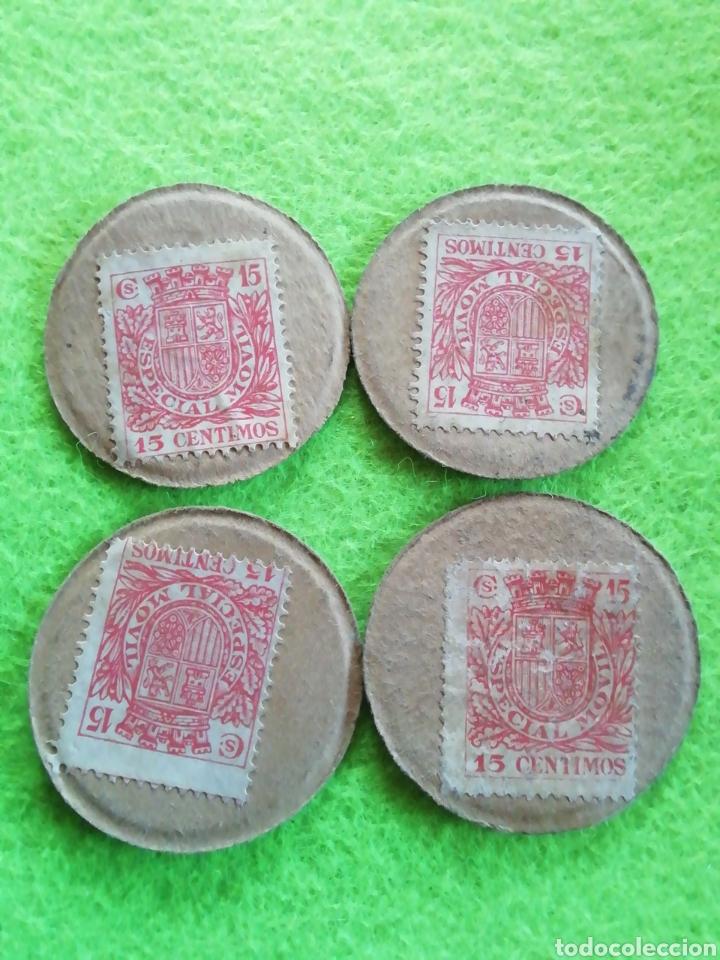 LOTE 4 MONEDAS CARTÓN DE 15 CÉNTIMOS. DE LA REPÚBLICA ESPAÑOLA. (Numismática - España Modernas y Contemporáneas - República)