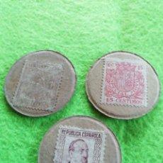 Monedas República: LOTE DE 3 MONEDAS CARTÓN DE LA REPÚBLICA ESPAÑOLA DE 10/15 Y 25 CÉNTIMOS. Lote 290089748