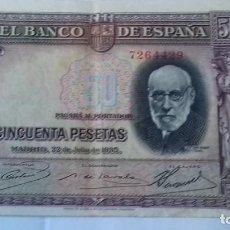 Monedas República: 50 PESETAS DEL AÑO 1935 SIN SERIE. Lote 292161473