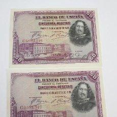 Monedas República: PAREJA CORRELATIVA, BILLETES, 50 PESETAS, VELAZQUEZ, SERIE C2,994,546/47, S/C MARCA DOBLEZ EN FAJO.. Lote 294106653