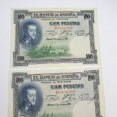 Monedas República: 145,, PAREJA BILLETES, CORRELATIVOS, FELIPE II 100 PESETAS, 1925 REPÚBLICA SERIE: D7,852,582 / 83. Lote 294108783
