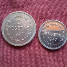 Monedas República: EUZKADI. PAREJA SC SIN CIRCULAR. BRILLO ORIGINAL. 1 PESETA Y 2 PESETAS 1937. Lote 296004193