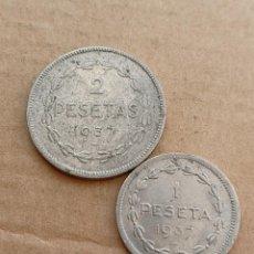 Monedas República: LOTE 2 MONEDAS EUZKADI 1937 - 1 Y 2 PESETAS. Lote 296593013