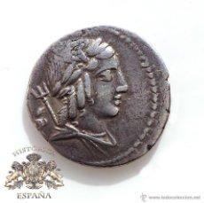 Monedas Roma República: DENARIO REPUBLICANO, FAMILIA JULIA - APOLO - VICTORIA CORONANDO CUADRIGA - 133 A.C - E.B.C++. Lote 52891697