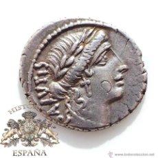 Monedas Roma República: DENARIO REPUBLICANO, FAMILIA ACILIUS - CABEZA LAUREL DE LA SALUD- SALUD CON SERPIENTE- 55 A.C- E.B.C. Lote 52892059