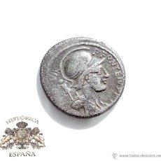 Monedas Roma República: DENARIO REPUBLICANO, FAMILIA FONTEIA - BUSTO DE MARTE, DETRAS LUCHANDO ENEMIGOS. 61 A.C. Lote 54916067