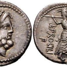 Monedas Roma República: PRECIOSO DENARIO ROMANO REPÚBLICA REPUBLICANO PLATA PROSCILIUS PROSCILIA ROMA JUNO SOSPITA EX-CNG. Lote 56010588