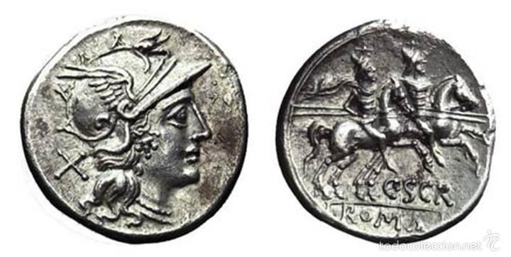 Denario Romano de la República representando a la diosa Roma (Fuente: https://cloud10.todocoleccion.online/monedas-roma-republica/tc/2016/04/09/20/56011044.jpg)