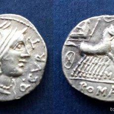 Monedas Roma República: BONITO DENARIO ROMANO PLATA REPÚBLICA REPUBLICANO FAMILIA CURTIA QUINTUS CURTIUS Y M. SERGIUS SILUS. Lote 56012877