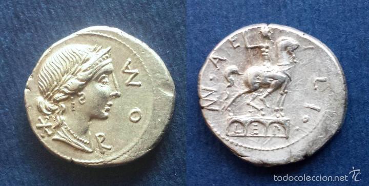 BONITO DENARIO ROMANO PLATA REPÚBLICA REPUBLICANO FAMILIA AEMILIA MN. AEMILIUS LEPIDUS 114-113 AC (Numismática - Periodo Antiguo - Roma República)