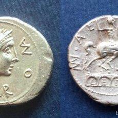 Monedas Roma República: BONITO DENARIO ROMANO PLATA REPÚBLICA REPUBLICANO FAMILIA AEMILIA MN. AEMILIUS LEPIDUS 114-113 AC. Lote 56017656