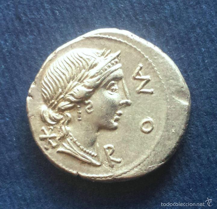 Monedas Roma República: Bonito Denario Romano Plata República Republicano Familia AEMILIA Mn. Aemilius Lepidus 114-113 AC - Foto 2 - 56017656