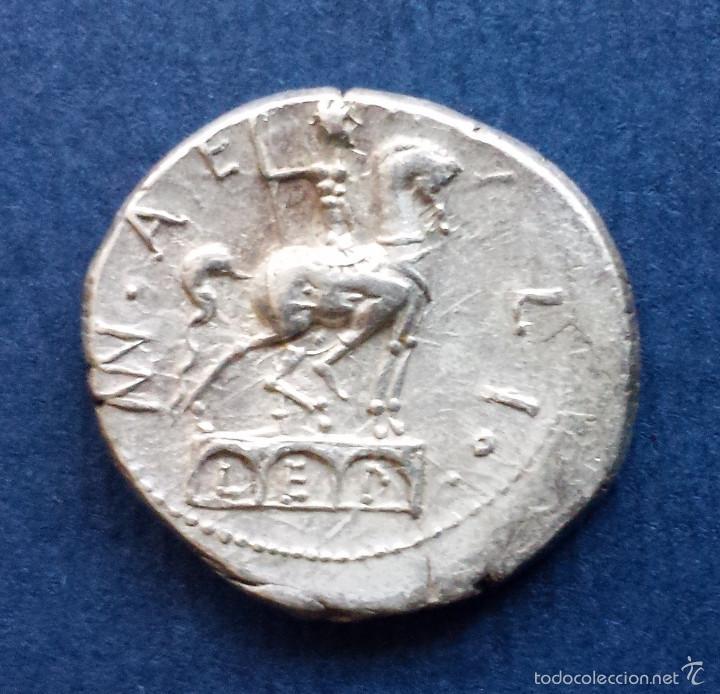 Monedas Roma República: Bonito Denario Romano Plata República Republicano Familia AEMILIA Mn. Aemilius Lepidus 114-113 AC - Foto 3 - 56017656