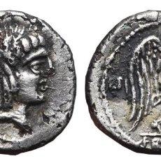 Monedas Roma República: *** MUY RARO QUINARIO FAMILIA CALPURNIA 90 AC. SÍMBOLO LECHUZA DETRAS EL BUSTO (FORRADO) ***. Lote 71483255