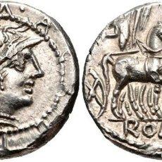 Monedas Roma República: PRECIOSO DENARIO ROMANO PLATA REPÚBLICA REPUBLICANO FAMILIA ACILIA M. ACILIUS M.F. 130 AC EX-CNG. Lote 77835921