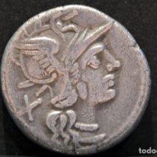 Monedas Roma República: DENARIO REPÚBLICA ANONIMO ROMA 143 A.C BIGA CON SÍMBOLOS CIERVOS. Lote 102451863