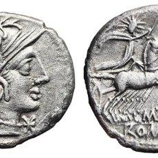 Monedas Roma República: *** MUY BONITO DENARIO REPUBLICANO, FAMILIA ABURIA. 132 A.C. ROMA. CRAW-250/1. PLATA ***. Lote 107840955