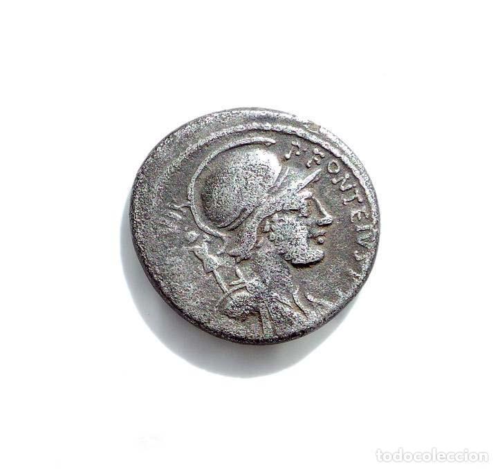 DENARIO REPUBLICANO, FAMILIA FONTEIA - BUSTO DE MARTE, DETRAS LUCHANDO ENEMIGOS. 61 A.C (Numismática - Periodo Antiguo - Roma República)