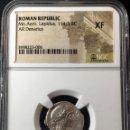Monedas Roma República: DENARIO ROMANO PLATA REPÚBLICA REPUBLICANO FAMILIA AEMILIA MN. AEMILIUS LEPIDUS 114-113 BC NGC XF!!. Lote 147412050