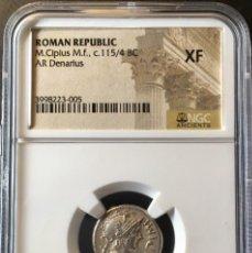 Monedas Roma República: PRECIOSO DENARIO ROMANO PLATA REPÚBLICA REPUBLICANO FAMILIA CIPIA M. CIPIUS M.F. NGC XF!!!. Lote 147483306